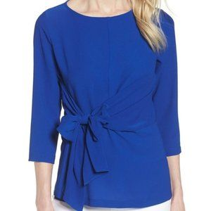 GIBSON Blue Tie Front Crepe Top XS Blouse Career
